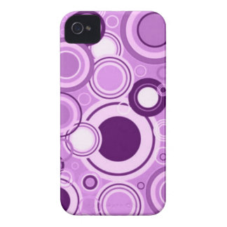 Purple Funky Retro Circles Pattern iPhone 4 Case