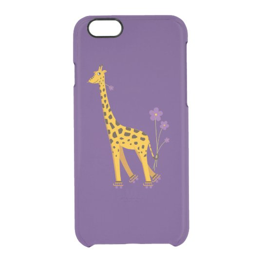 Purple Funny Cartoon Skating Giraffe Clear iPhone 6/6S Case