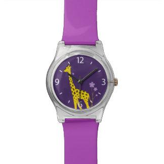 Purple Funny Giraffe Roller Skating Kids Watch