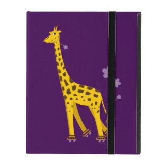 Purple Funny Giraffe Roller Skating Strap Folio iPad Cover