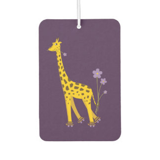 Purple Funny Roller Skating Giraffe Car Air Freshener