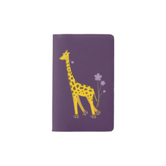 Purple Funny Roller Skating Giraffe Pocket Moleskine Notebook