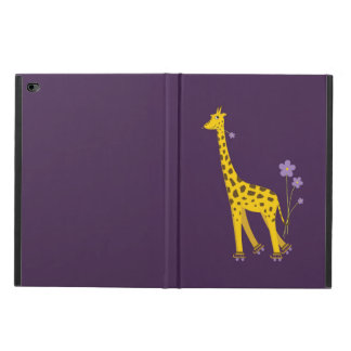 Purple Funny Skating Cartoon Giraffe