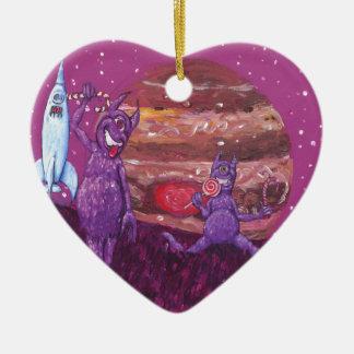 Purple Furry Cyclops over Jupiter Ceramic Heart Decoration