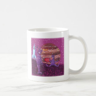 Purple Furry Cyclops over Jupiter Basic White Mug