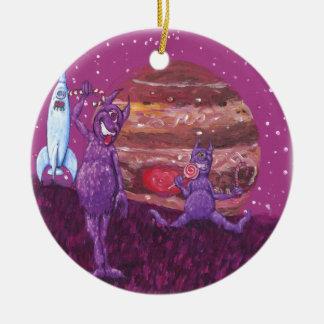 Purple Furry Cyclops over Jupiter Round Ceramic Decoration
