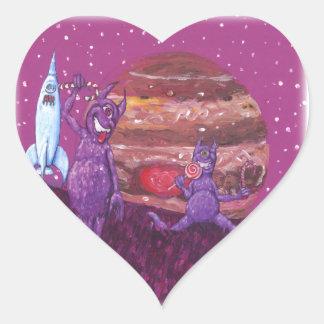 Purple Furry Cyclops over Jupiter Heart Sticker