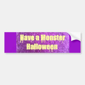 Purple Furry Monster Halloween Bumper Sticker