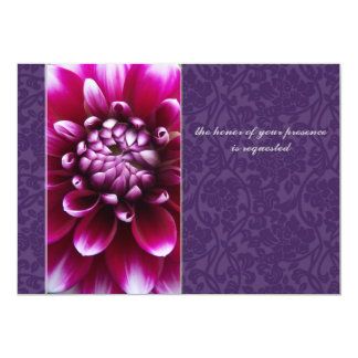 Purple Fuschia Dahlia Wedding Invitation