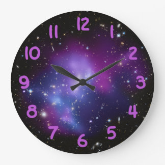 Purple Galaxy Cluster Large Clock