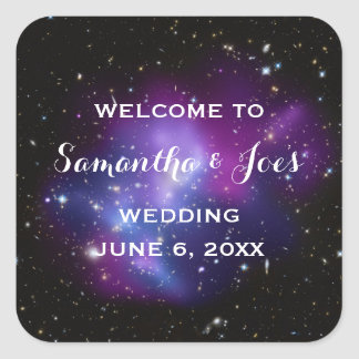 Purple Galaxy Cluster Planetarium Wedding Favor Square Sticker
