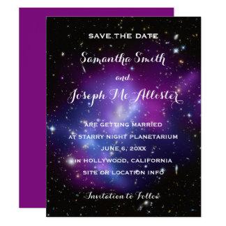 Purple Galaxy Cluster Save the Date 11 Cm X 14 Cm Invitation Card
