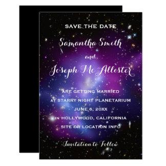 Purple Galaxy Cluster Save the Date 9 Cm X 13 Cm Invitation Card