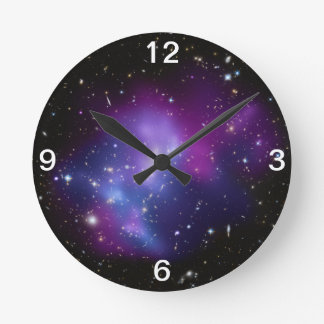 Purple Galaxy Cluster Wall Clock
