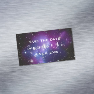 Purple Galaxy Cluster Wedding Save the Date Magnetic Business Cards