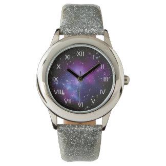 Purple Galaxy Cluster Wrist Watch