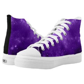 Purple Galaxy high top tennis shoes