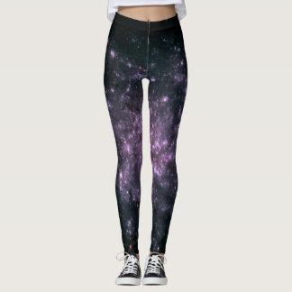 Purple Galaxy Print Leggings