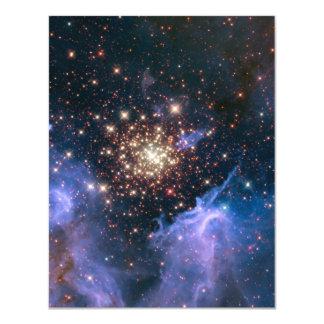 Purple Galaxy Starry Sky Supernova Astronomy Space 11 Cm X 14 Cm Invitation Card