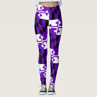 Purple Game Day Maryland Flag Leggings
