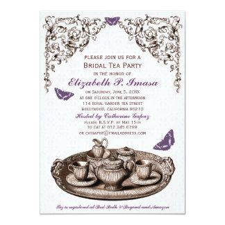 Purple Garden Bridal Tea Party Invitations