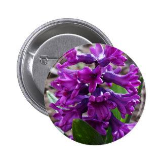 purple garden flower 6 cm round badge