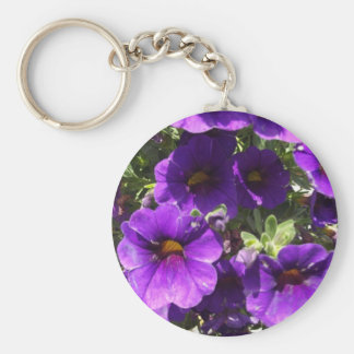 Purple Garden Flowers Basic Round Button Key Ring