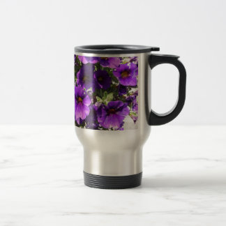 Purple Garden Flowers Stainless Steel Travel Mug
