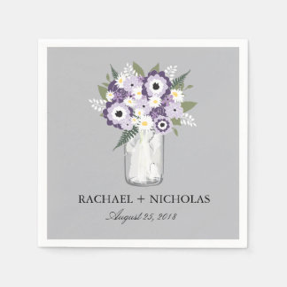 Purple Garden Mason Jar | Wedding Disposable Napkins