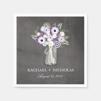 Purple Garden Mason Jar | Wedding Paper Napkins