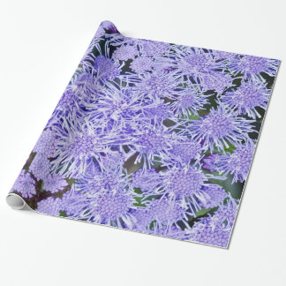 Purple garden of mums wrapping paper