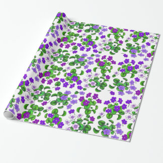 Purple Garden Violet Flowers Wrapping Paper