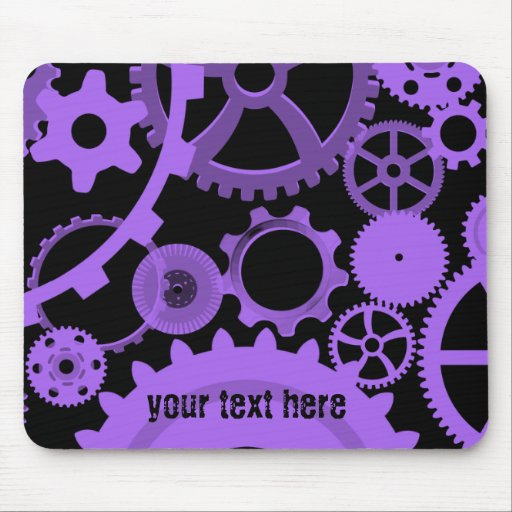 Purple gears on black mousepad to personalize