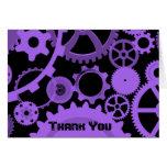 Purple gears on black Thank You card
