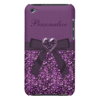 Purple Gem Stones & Heart Jewel Print Barely There iPod Covers