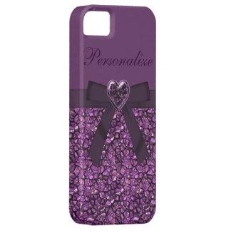 Purple Gem Stones & Heart Jewel Print iPhone 5 Cover