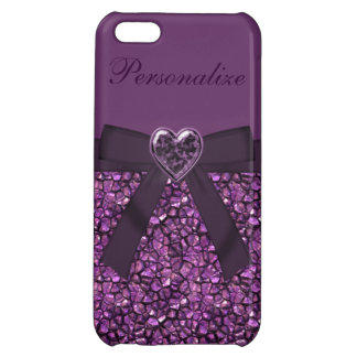 Purple Gem Stones & Heart Jewel Print iPhone 5C Cases