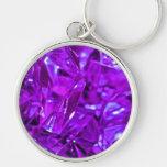 Purple gemstone crystal amethyst Silver-Colored round key ring