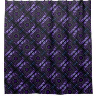 Purple Geometric and Fractal Design Shower Curtain