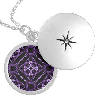 Purple Geometric Diamond Pattern Locket Necklace