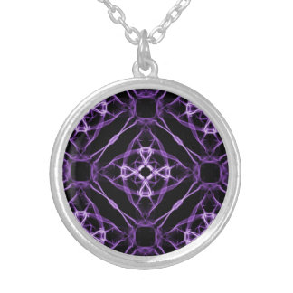 Purple Geometric Diamond Pattern Silver Plated Necklace