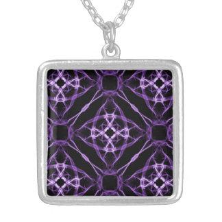 Purple Geometric Diamond Pattern Silver Plated Necklace