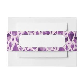 Purple geometric jewel shapes invitation belly band