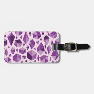Purple geometric jewel shapes luggage tag