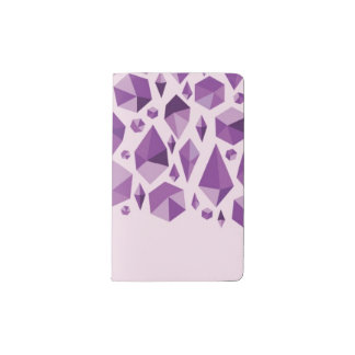 Purple geometric jewel shapes pocket moleskine notebook