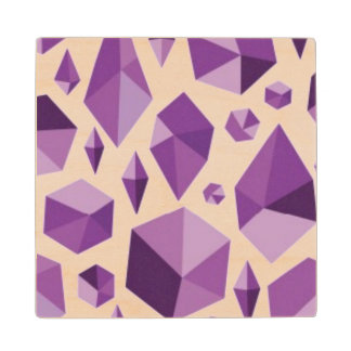 Purple geometric jewel shapes wood coaster