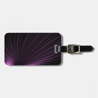 Purple Geometric Lines on Black, Luggage Tag