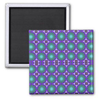 Purple Geometric Motif Square Magnet