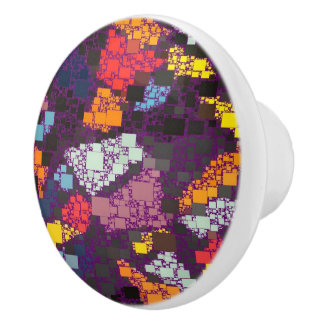 Purple Geometric Outlines Over Colorful Splashes Ceramic Knob