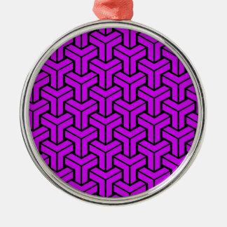 Purple Geometric Pattern Christmas Ornament